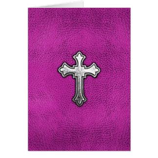 Cartes Croix en métal sur le cuir rose