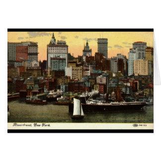 Cartes Cru c1905 de New York City de façade d'une rivière