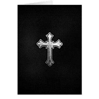 Cartes Crucifix métallique sur le cuir noir
