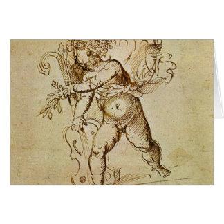 Cartes Cupidon avec un violon par Campagnola, art de