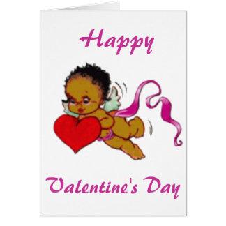 Cartes Cupidon mignon d'Africain noir