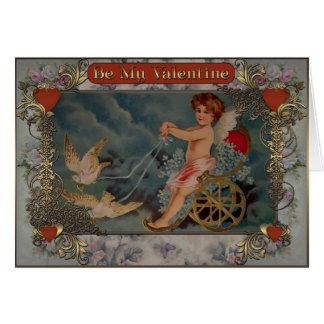 Cartes Cupidon montant un chariot avec des pigeons