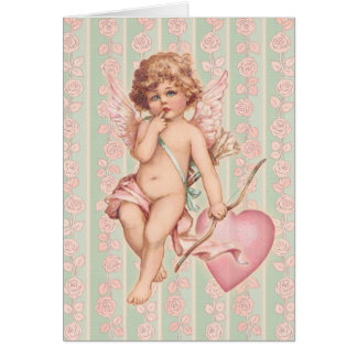 Cartes Cupidon rose sur des roses