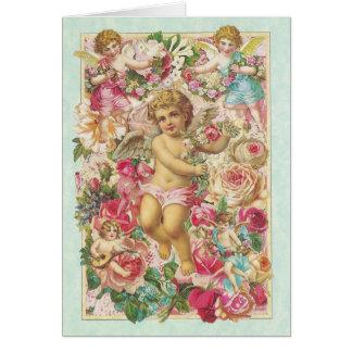 Cartes Cupidon victorien et roses floraux