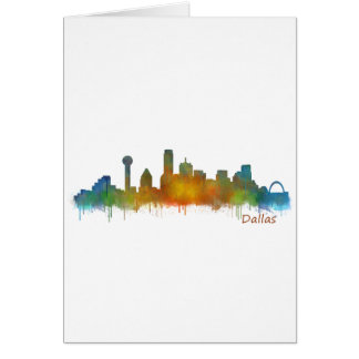 Cartes Dallas Texas Ville Watercolor Skyline Hq v2