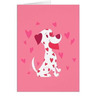 Cartes Dalmate rose mignon de Valentine de coeurs