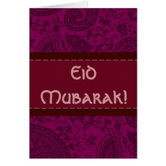 Cartes Damassé indienne magenta Eid Mubarak