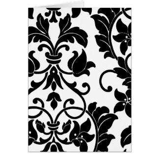 Cartes Damassé noire sur le blanc