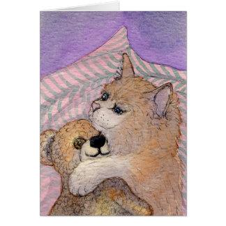 Cartes D'amis ours d'étreintes de chat pour toujours -