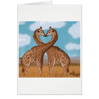 Cartes d'amour de girafes