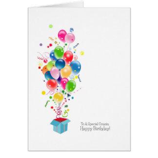 Cartes d'anniversaire de cousin, ballons colorés