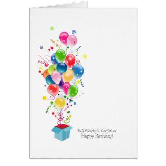 Cartes d'anniversaire de parrain, ballons colorés