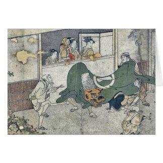 Cartes Danse de lion par Kitagawa, Utamaro