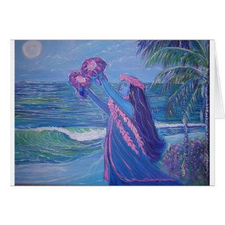 Cartes danse polynésienne de dame de lumière de lune