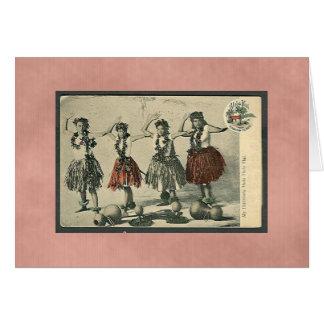 Cartes Danseurs vintages de danse polynésienne d'Hawaï