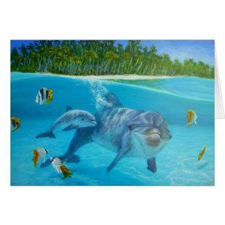 Cartes dauphin de bottlenose avec le bébé