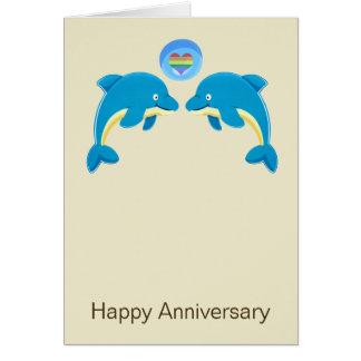 Cartes Dauphins gais et anniversaire de bulle de coeur