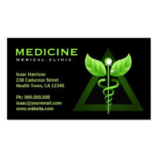 Cartes de caducée d'affaires de médecine douce carte de visite standard