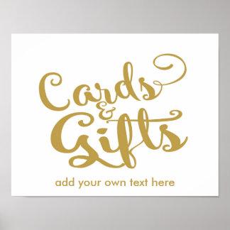 Cartes de calligraphie et copie modernes de cadeau poster