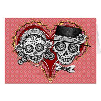 Cartes de couples de crâne de sucre