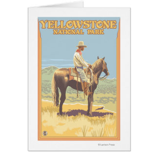 Cartes De cowboy ressortissant de Yellowstone à cheval -