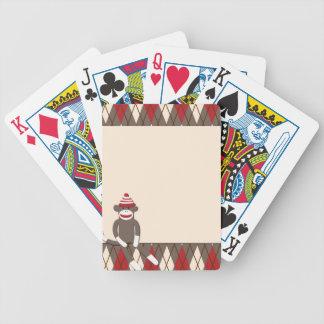 Cartes de jeu à motifs de losanges de singe de cha jeu de poker