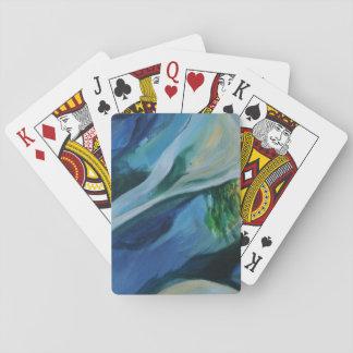 Cartes de jeu bleues et vertes de peinture jeu de cartes