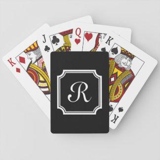 Cartes de jeu chics personnalisées de monogramme jeux de cartes