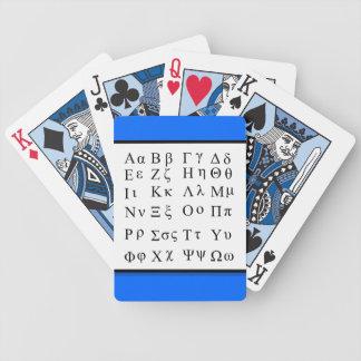 Cartes de jeu d'alphabet grec cartes à jouer