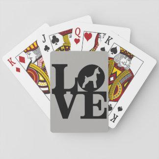 Cartes de jeu d'amoureux des chiens, visages cartes à jouer