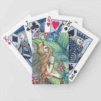 Cartes de jeu d'art de sirène par l'aquarium cartes à jouer