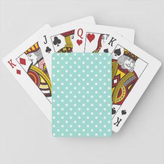 Cartes de jeu de base pointillées par polka d'Aqua Jeu De Cartes