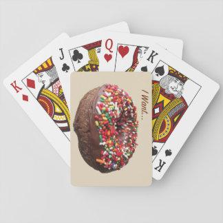 """Cartes de jeu de beignet d'amusement """"que je veux jeux de cartes"""