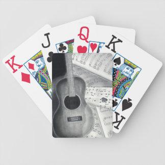 Cartes de jeu de musique de guitare et de feuille jeux de cartes