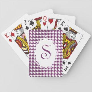 Cartes de jeu de pied-de-poule de monogramme jeu de cartes