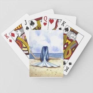 Cartes de jeu de sirène de margarita de plage de jeux de cartes