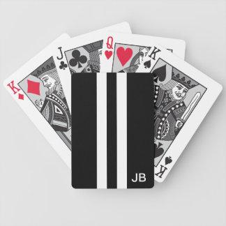 Cartes de jeu décorées d'un monogramme noires et b jeux de cartes bicyle