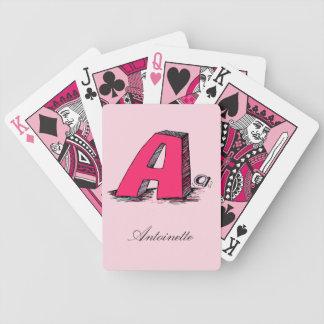 Cartes de jeu décorées d'un monogramme roses cartes à jouer