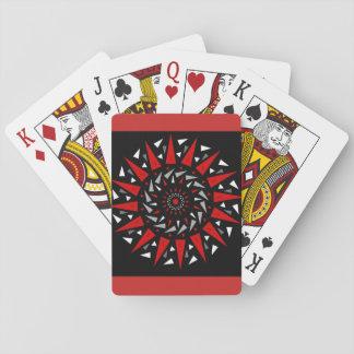 Cartes de jeu en spirale pointues rouges noires de cartes à jouer