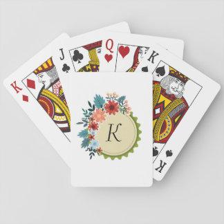 Cartes de jeu florales de monogramme jeux de cartes