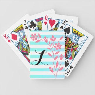 Cartes de jeu florales rayées bleues et blanches cartes à jouer