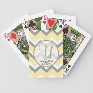 Cartes de jeu jaunes et grises de monogramme de Ch Cartes À Jouer