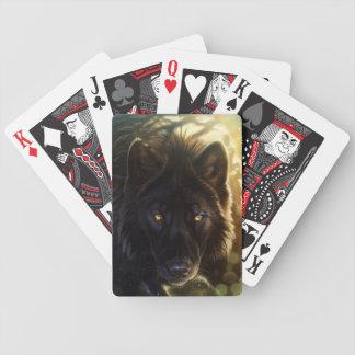 Cartes de jeu noires de loup jeu de cartes