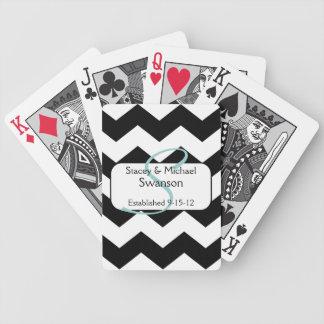 Cartes de jeu noires de monogramme de Chevron Cartes À Jouer