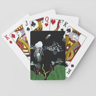 Cartes de jeu noires vertes de méduses de poissons jeux de cartes
