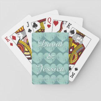 Cartes de jeu personnalisées de mariage de coeur cartes à jouer