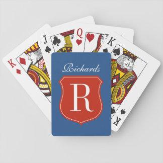 Cartes de jeu personnalisées de monogramme de nom cartes à jouer