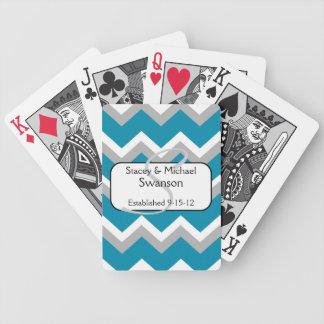 Cartes de jeu turquoises et grises de monogramme d jeu de cartes