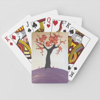 Cartes de jeu vibrantes d'impression d'arbre jeu de cartes