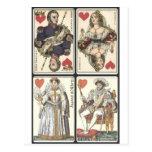 Cartes de jeu vintages - rois et Queens des coeurs Carte Postale